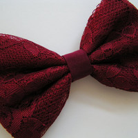 Hair bow-Crimson lace hair bow, Hair Bows for Teens, women, Fabric Bows, hair bow, Bow, hair accessorie bow