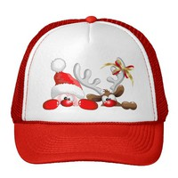 Funny Santa and Reindeer Cartoon Hat