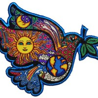 Artist Dan Morris World Flower Power Peace Dove Sign Iron On Hippie Patch