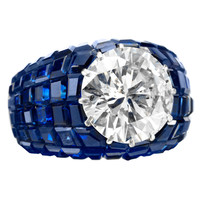 VAN CLEEF & ARPELS Important Mystery Set Sapphire Diamond Ring