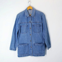 80s BARN denim jacket long jean coat rustic women cabin creek