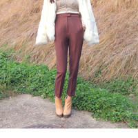 Plain Front High Waist Pants