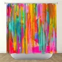 Shower Curtain Artistic Designer from DiaNoche Designs by Arist Jackie Phillips Home Décor and Bathroom Ideas - Neon Double Abstract