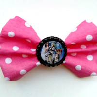 Beetlejucie Pink Polka Dot Hair Bow- Stocking Stuffer, Cyber Monday