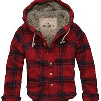Hollister Mens Sherpa Lined Plaid Button-down Shirt