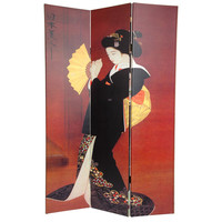 Oriental Furniture 6Feet Tall Double Sided Japanese Ladies Canvas Room Divider
