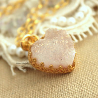 Golden Druzy white heart Necklace ,gift for woman, druzy jewelry - 14k gold filled necklace with real gemstone.