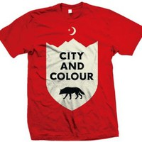 City and Colour Wolf T-Shirt Mens Small Red