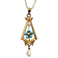 1890s Turquoise and Pearl Lavalier, 10K, 10K Gold Chain : Erie Basin Antiques