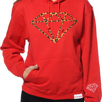 Diamond Supply Co. Girls Leopard Rock Red Pullover Hoodie