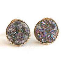 Rainbow Druzy Stud Post Earrings Gold