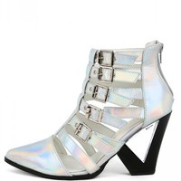 Privileged Dazed Hologram Buckle Ankle Boots | MakeMeChic.com
