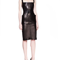 Alexander McQueen Self-Belted Leather Sheath Dress, Black