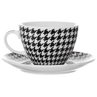 Houndstooth Cups & Saucers Set
