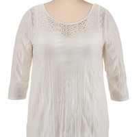 3/4 Sleeve High-Low Lace Shoulder Peasant Top