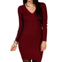 Burgundy Ribbed Long Sleeve Tunic