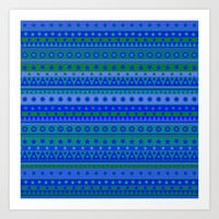 Blue and Green Stripy Stars and Spots Pattern Art Print by Hippy Gift Shop