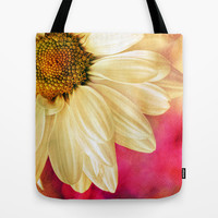 Daisy - Golden on Pink Tote Bag by micklyn