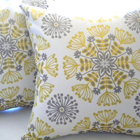 Decorative pillow cover - Yellow - silver - grey- Throw pillow - 18 x 18