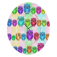 Lisa Argyropoulos Little Hoots Stripes Multicolor Oval Clock