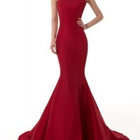EMMALADY Elegant Burgundy Mermaid One-Shoulder Evening Dress
