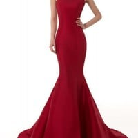 EMMALADY Elegant Burgundy Mermaid Evening Dress