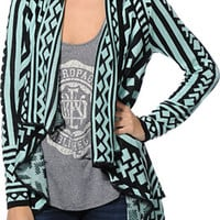 Empyre Girls Black & Mint Tribal Print Wrap Sweater