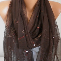 ON SALE - Brown Sequin Tulle Scarf Shawl Cowl Bridesmaid gift Gift for her