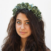 Flower Crown - Jade, Green, Velvet, Holiday Fashion, Flower Headband, Mint Green, Floral Crown, Emerald, Wintergreen Floral Headband