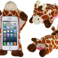 PC Plastic & Plush Rotary 3D Plush Giraffe Protective Case for iPhone 5/5s