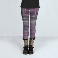 purple grey white by Angela Bruno (Leggings)