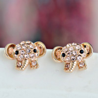 Cute Elephant Full Rhinestone Fashion Earrings