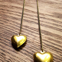 Heart Charm Dangle Brass Earrings