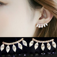 Curved Diamond Stream Earrings