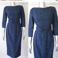BLACKFRI vintage 1950s wool dress / 50s wiggle dress / vintage 1950s black blue dress