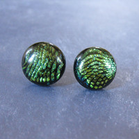 Dichroic Green Earrings, Button Earrings, Fused Glass Earrings, Green Ear Jewelry on Etsy - Wistilla - 1703 -3