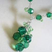Green Glass Cluster Drop Necklace: Emerald Green, Green Goblin, Summer, Nymph, Forest Green, Woodland, Spring, Beltane