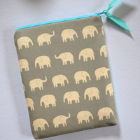 iPad Sleeve iPad Case iPad Cover iPad 2 iPad 3 iPad Air Tablet Cases Zippered Grey Elephants with Aqua Zipper