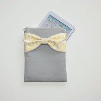 iPad Case - Android - Microsoft Tablet Sleeve - Gray with Yellow Damask Bow - Padded