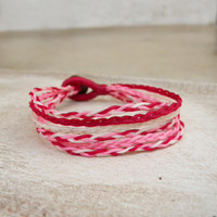 Braided Raspberry Bracelet [4056] - $8.80 : Vintage Inspired Clothing & Affordable Dresses, deloom | Modern. Vintage. Crafted.