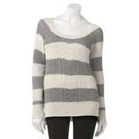 SO® Cable-Knit Lurex Hi-Low Sweater - Juniors