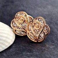 Sparkly Heart Rose Rhinestone Fashion Earrings
