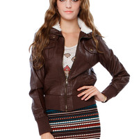 ESSENTIAL NECK FUR Leatherette JACKET