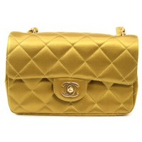 Chanel Golden Yellow Satin Mini Classic Bag