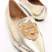 Gold Faux Leather Rhinestone Tiger Flats