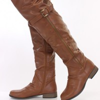 Tan Faux Leather Thigh High Boots