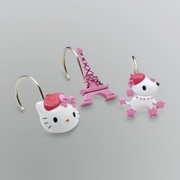 Sanrio 12 Piece Hello Kitty Bonjour Paris Shower Curtain Hook Set