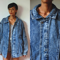 Vtg Acid Wash Zip Up Oversize Denim Jacket