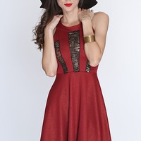 Burgundy Metallic Mesh Cut Out Sexy Party Dress