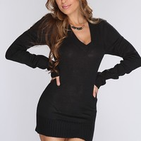 Black Knitted V Neck Sexy Sweater Dress